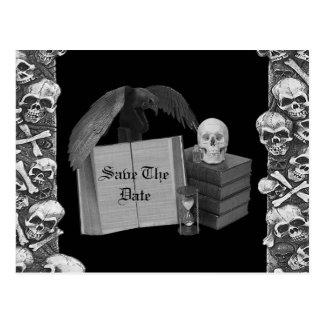Black & White Romance Skull Spellbook Wedding Postcard