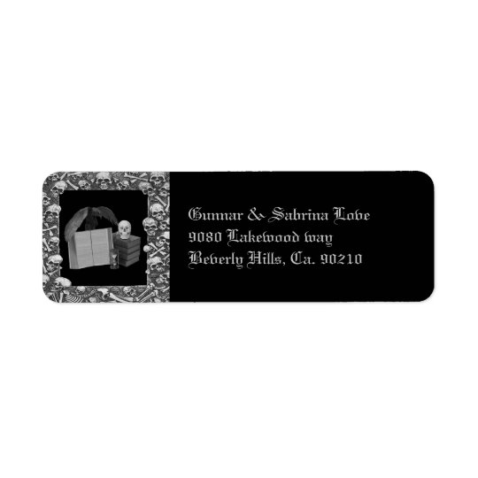 Black & White Romance Skull Spellbook Wedding Return Address Label