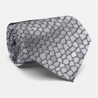 Black & White Rose Mosaic Pattern Tie