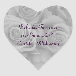 black & white roses address labels