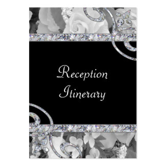 Black & White Roses & Diamond Swirls Wedding Large Business Card