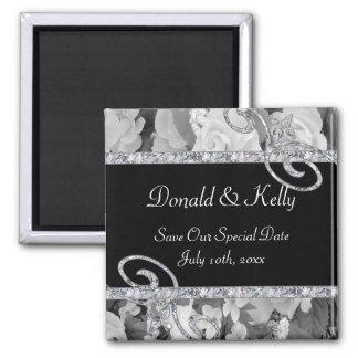 Black & White Roses & Diamond Swirls Wedding Magnet