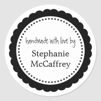 Black white rosette handmade label party favor