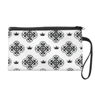Black & white royal pattern Bagettes Bag Wristlet Purses