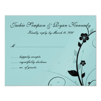 "Black & White RSVP Card Floral Wall Blue Silver 4.25"" X 5.5"" Invitation Card"