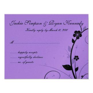 "Black & White RSVP Card Floral Wall Purple Silver 4.25"" X 5.5"" Invitation Card"