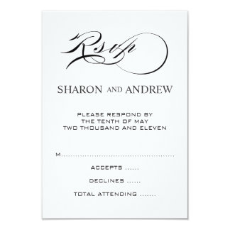 Black White RSVP Cards for Square Invites