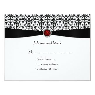 Black White Ruby Gemstone RSVP Card