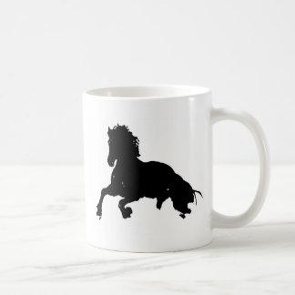 Black White Running Horse Silhouette Classic White Coffee Mug