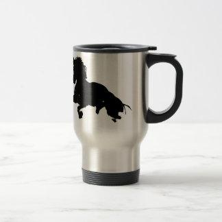 Black White Running Horse Silhouette Stainless Steel Travel Mug