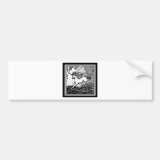 Black & White Running Unicorn Gifts Bumper Sticker