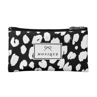 Black & White Rustic Leopard Print Personalized Makeup Bags