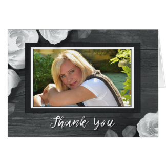 Black White Rustic Roses Photo Sympathy Thank You Card