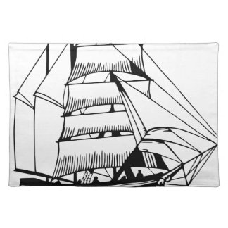 black white sail boat grand placemat