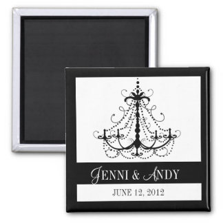 Black White Save the Date Names Wedding Magnets