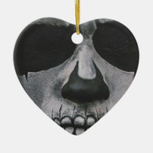 Black & White Scary Face... Ceramic Ornament
