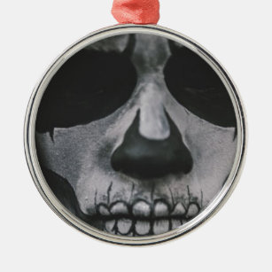 Black & White Scary Face... Metal Ornament