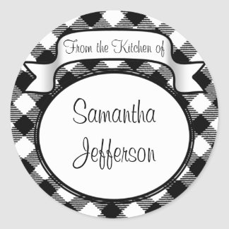 Black+White Script -From the Kitchen Of- Jar/Label Classic Round Sticker