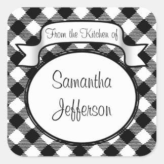 Black+White Script -From the Kitchen Of- Jar/Label Square Sticker