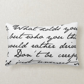 Black & White Script Handwriting Throw Pillow