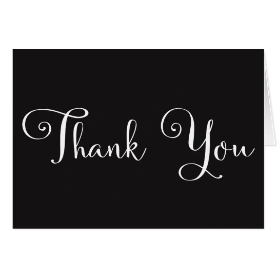 Black White Script Personalized Wedding Thank you Card