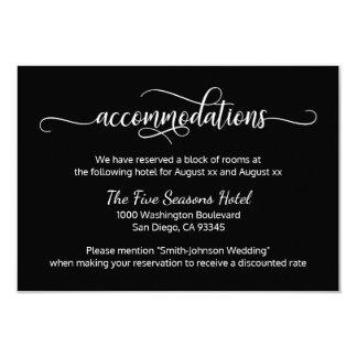 Black White Script Wedding - Accommodations Card
