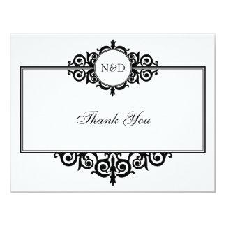 "Black white scroll monogram thank you note flat 4.25"" x 5.5"" invitation card"