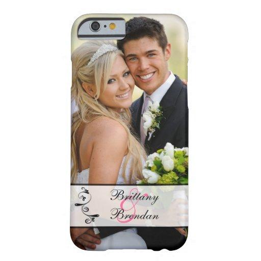 Black, White Scroll Wedding Photo iPhone 6 Case