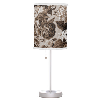 Black & White Sepia Brown Botanical Floral Toile Table Lamp