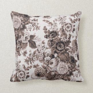 Black White Sepia Brown Tone Vintage Floral Toile Throw Pillow