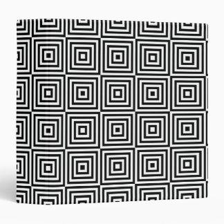 Black White Seventies Squares Illusion Pattern Vinyl Binder