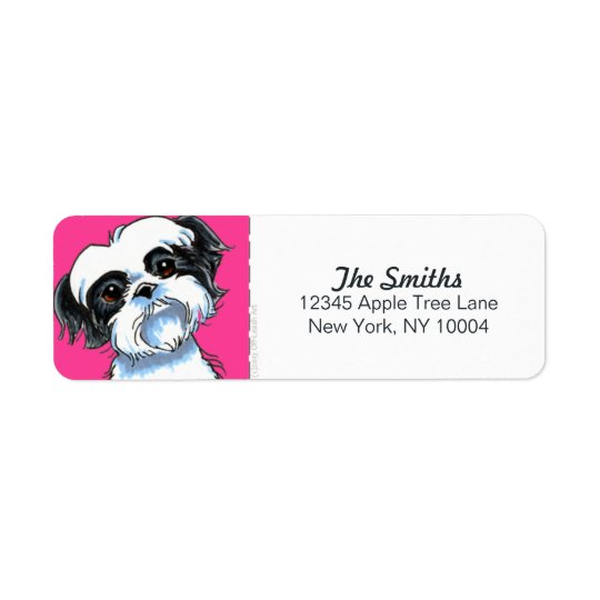 Black White Shih Tzu Hot Pink Block