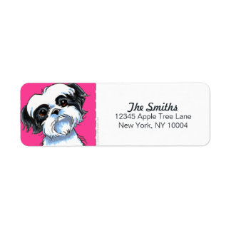Black White Shih Tzu Hot Pink Block Return Address Label