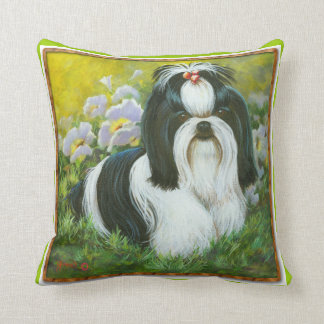 Black & White Shih Tzu in Garden Throw Pillow