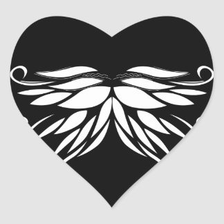 Black white Siberia Nordic ornaments Heart Sticker