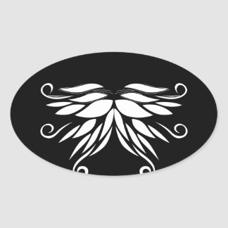 Black white Siberia Nordic ornaments Oval Sticker