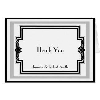 Black White Silver Art Deco Anniversary Thank You Card