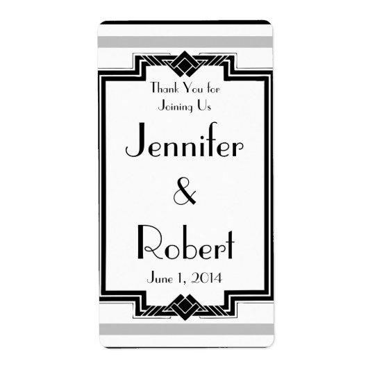 Black White Silver Art Deco Anniversary Wine Label