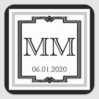 Black White Silver Art Deco Frame Monogram Sticker