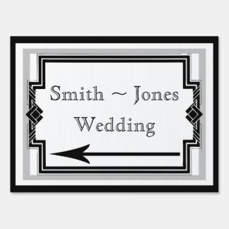 Black White Silver Art Deco Wedding Direction Sign