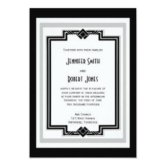 Black White Silver Art Deco Wedding Invitation