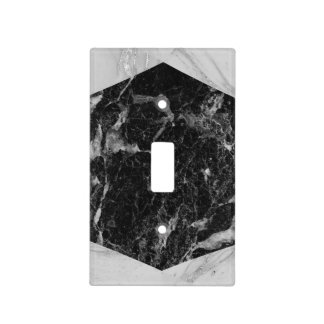Black White & Silver Marble Modern Glam Light Switch Cover
