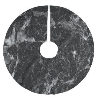 Black White & Silver Marble Modern Glam Trendy Brushed Polyester Tree Skirt