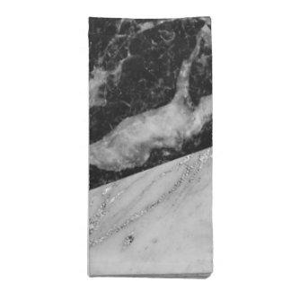 Black White & Silver Marble Modern Glam Trendy Napkin