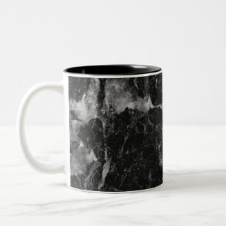 Black White & Silver Marble Modern Glam Two-Tone Coffee Mug