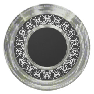 Black White & Silver Retro Ornate Pattern Plate