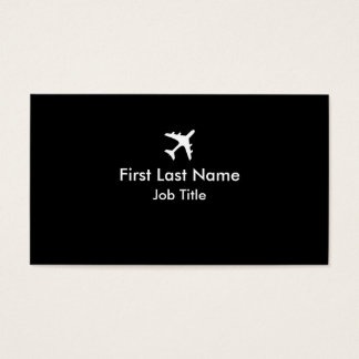 Black white simple airplane custom business cards