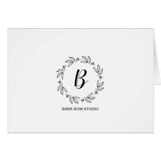 Black & White Simple Modern Initial Monogram Note Card