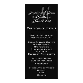 Black White Simple Monogram Wedding Menu 10 Cm X 24 Cm Invitation Card