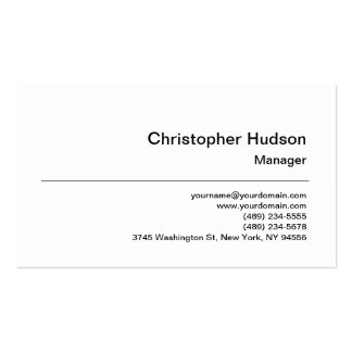 Black White Simple Plain Manager Business Card